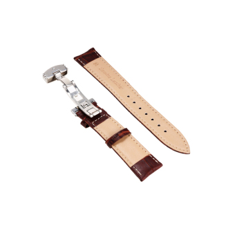 V SHOW Women's Folding Clasp Buckle Watch Band Strap 24Mm Syntheticleather ( Brown ) - Intl