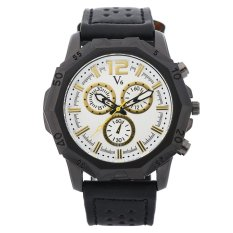 V6 Casual Men's Leather Strap Wrist Watch (Black + White) - Intl