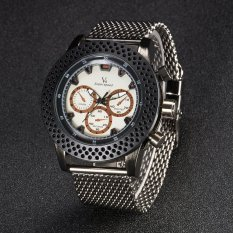 V6 Mens Watches Stainless Steel Mesh Band Simple Clock Fashion Casual Quartz Watch Men Black