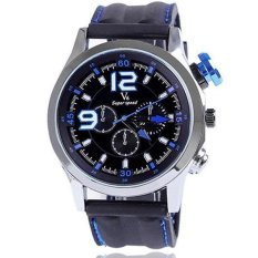 V6 Racing Design 3D Dial Casual Watch Silver Case Silicone Band Blue