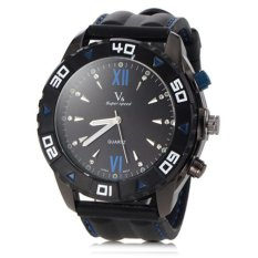 V6 Racing Style Casual Watch Black Silicone Band Black - Intl