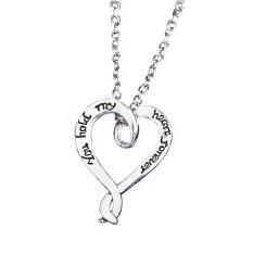"""Valentine's Day Fashion Jewelry Silver Hollow Heart """"You Hold My Heart Forever""""Pendant Necklace Chain Link Gift For Lover Women (Intl)"""