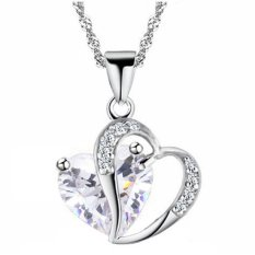 Valentine's Day For Lover Clear Crystal Heart Hollow Clear Rhinestone Heart Charm Pendant Necklace Fashion Jewelry For Women New Year Gift (Intl)