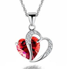Valentine's Day For Lover Red Crystal Heart Hollow Clear Rhinestone Heart Charm Pendant Necklace Fashion Jewelry For Women New Year Gift (Intl)