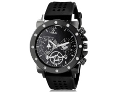 Valia 8235 Man Round Analog Watch with Silicone Strap (Black) (Intl)