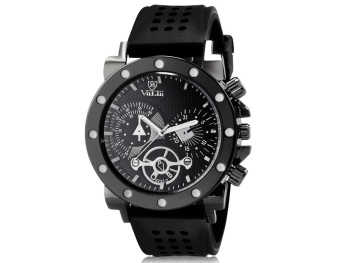 Valia 8235 Man Round Analog Watch With Silicone Strap (Black)
