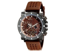 Valia 8235 Man Round Analog Watch with Silicone Strap (Brown) (Intl)