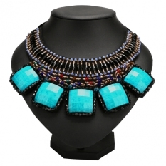 New Fashion Women Lady Jewelry Cocktail Square Stone Pendant Necklace Blue