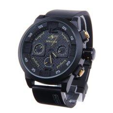 Vanki SPEATAK AP9035G Fashion Luxury Rubber Band Analog Quartz Wrist Watch For Men - Black + Yellow (Intl)
