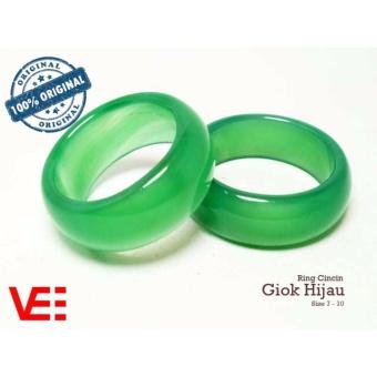 VeE Ring Cincin Terapi Kesehatan Batu Giok Hijau Natural Asli.