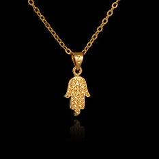Vintage 18K Gold Plated Fatima Hand Necklace Great Copper Jewelry Hamsa Necklaces Pendants