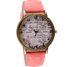 Vintage English Newspaper Pattern Women Men Casual Watch Denim Canvas Strap Watch Retro Wristwatches Pink (Intl)