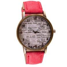 Vintage English Newspaper Pattern Women Men Casual Watch Denim Canvas Strap Watch Retro Wristwatches Red (Intl)