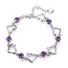 Vintage Jewelry Bracelet 925 Sterling Silver - Gelang Wanita - Silver-Ungu