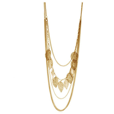 Vintage Leaf Pendant Multi-layer Necklace Long Sweater Chain For Lady Gold