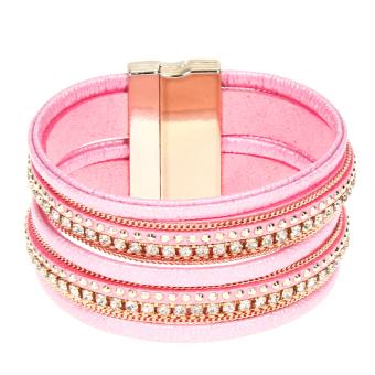 Vintage Leather Bracelet Pink