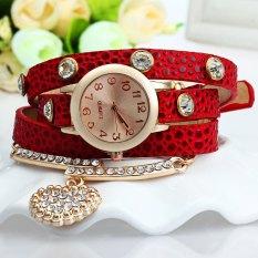 Vintage Leopard Leather Wrap Bracelet Wrist Women Watch With Heart Pendant Rhinestone (Red)