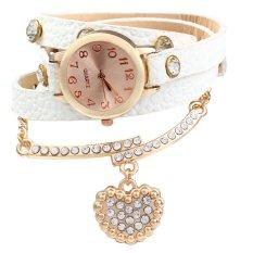 Vintage Leopard Leather Wrap Bracelet Wrist Women Watch With Heart Pendant Rhinestone (White)
