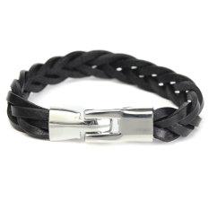 Vintage Men's Braided PU Leather Stainless Steel Cuff Bangle Bracelet Wristband Black - Intl
