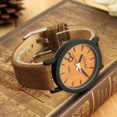 Vintage Wooden Dial Casual Leather Quartz Wrist Watch (Intl)