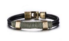 Vnox Jewelry Mens Black Leather Bracelet, Braided Rope