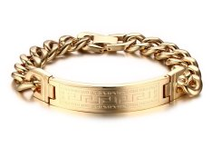 Vnox Jewelry Mens Stainless Steel Chunky Heavy Great Wall Texture Link ID Bracelet, Gold (Intl)