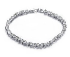 "VNOX Jewelry Womens Fashion Cubic Zirconia Tennis Bracelet, Rhodium Plated 7"" - Intl"