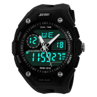 Waterproof Alarm Date Sport Analog Digital LED Backlight Wrist Watch Black + Black - Intl