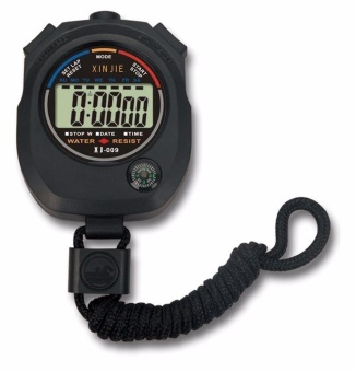 Waterproof Digital LCD Stopwatch Chronograph Timer Counter Alarm Olahraga Hitam-Intl