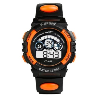 Waterproof Mens Boy's Digital LED Quartz Alarm Date Sports Wrist Watch OR - intl
