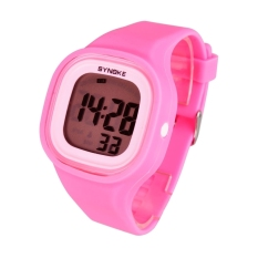 Waterproof Silicone Candy Color Square LED Digital Casual Sports Wrist Watch (Pink) - Intl