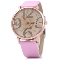 Wecin Men Women Quartz Watch Big Number Scales Leather Band (Pink)