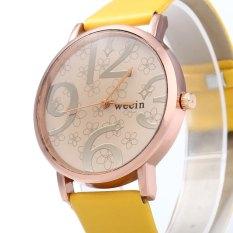 Wecin Men Women Quartz Watch Big Number Scales Leather BandYELLOW (Intl)