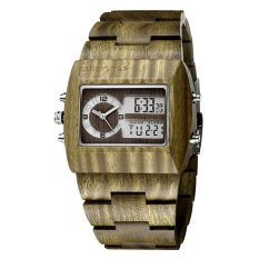 wedzwe JIANGYUYAN Luxury Natural Sandalwood Wood Watches Men Digital Chronograph LED Dual Time Zone Clock masculino (green sandalwood) - intl