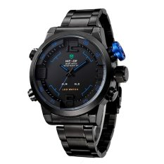 WEIDE 2309 Stainless Steel LED Quartz Men's Watch With LED Time Display And Black Steel Band (Blue) - Intl