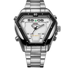 WEIDE Brand Irregular Man Sport Watches Water Resistance Quartz Analog Digital Display Stainless Steel Running Watches For Men (White)