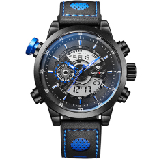 WEIDE Fashion Wristwatches Luxury Famous Brand Men's Leather Strap Watch Sports Men Watches With High Quality Waterproof (Blue)