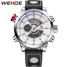 WEIDE Fashion Wristwatches Luxury Famous Brand Men's Leather Strap Watch Sports Men Watches With High Quality Waterproof (White)