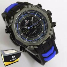 Weide Japan Quartz Miyota Men Leather Sports Watch 30M Water Resistance - WH6406 - Black Blue