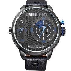WEIDE Japan Quartz Watch Men Luxury Brand Leather Strap Stainless Steel Buckle Waterproofed Design Sporte (Blue)