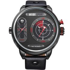WEIDE Japan Quartz Watch Men Luxury Brand Leather Strap Stainless Steel Buckle Waterproofed Design Sporte (Red)