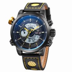 WEIDE Men's Fashion Casual Sports Watch Quartz Digital LED Back Light Military Relogio Masculino 30m Waterproof Men Watches (Yellow)