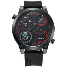 WEIDE UV1505 trendi Pria 2 zona waktu pita silikon 3ATM Waterproof kuarsa olahraga jam tangan dengan kompas - putih + Hitam (1 x lr626)