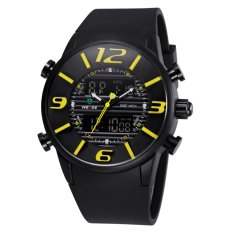 WEIDE WH-3402 Men's Luxury PU Rubber Strap LCD Back Light Military Army Diver Sport Wristwatch - Black + Yellow
