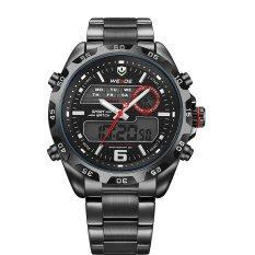 WEIDE WH-3403 Multi-functional Waterproof Men's Boys LED Digital Analog Dual Time Display Stainless Steel Band Sports Wrist Watch With Stopwatch / Date / Week / Alarm / Backlight (Black + Red) (Intl)