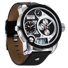 WEIDE WH2 305-4 olahraga menyelam PU kulit pria Band sejalan + tampilan digital jam tangan - Hitam
