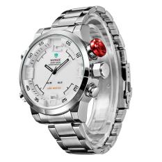 WEIDE WH2309 Olahraga Militer Pria Silver Band LED Digital Alarm Arloji Kuarsa Tampilan Waktu Ganda