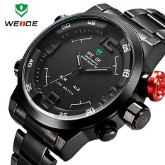 WEIDE WH2309B Military Sports Quartz Watch Double Movts Analog Digital LED Dual Time Display Alarm Wristwatch For Men (BLACK) (Intl)
