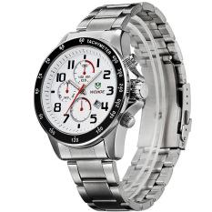 WEIDE WH3308 Men's Sports Waterproof Stainless Steel Strap Quartz Watch - Silver + White (Intl)