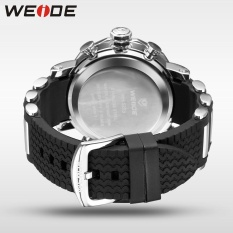 WEIDE WH5203 Men Military Stainless Steel Quartz Wristwatch Waterproof Multi-function LCD Digital Men's Clock